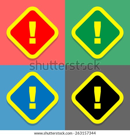 warning icons set great for any use. Vector EPS10. - stock vector