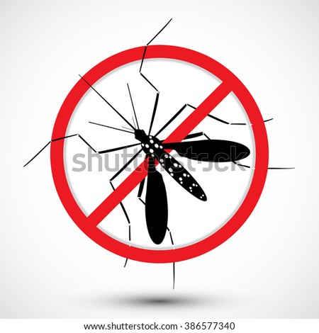Warning, Prohibited sign with Aedes Aegypti mosquito with. Stop Zika Virus. Nature, Ideal for educational, informational, institutional, and related health advisory. Isolated editable Clip Art - stock vector