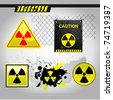 Warning radiation signs - stock
