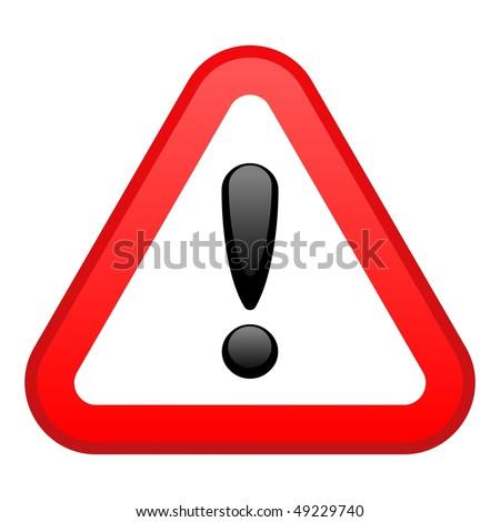 Warning Red Triangular Sign - stock vector