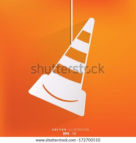 warning road cones icon - stock vector