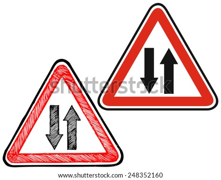 Warning road sign. Doodle style  - stock vector