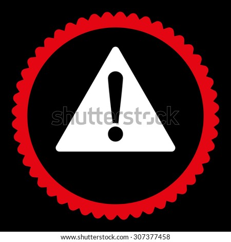 Warning round stamp icon. This flat vector symbol is drawn with red and white colors on a black background. - stock vector