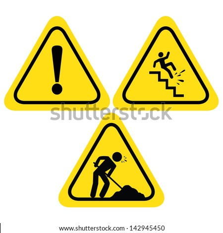 WARNING SAFETY SIGNS (UNDER CONSTRUCTION ROAD SIGN, HAZARD WARNING SIGN WITH EXCLAMATION, FALLING OF THE STAIRS SIGN) VECTOR - stock vector