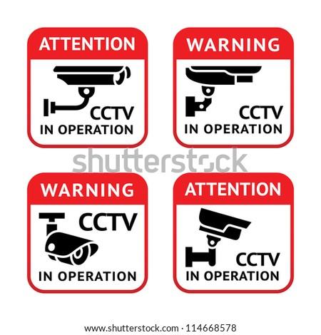 Warning set Sticker for Security Alarm CCTV Camera Surveillance - stock vector