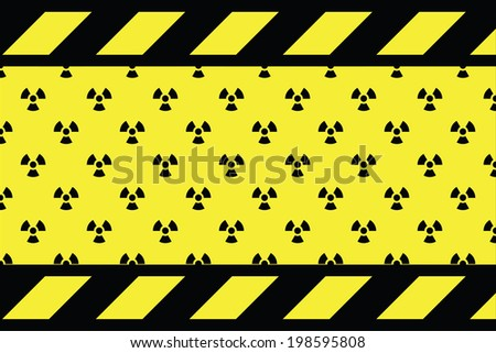 Warning sign for radio active on the yellow background - stock vector
