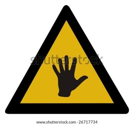 Warning sign - hand - stock vector