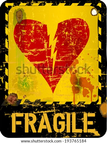 warning sign, heartbreak, love concept  - stock vector