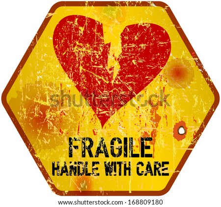 warning sign: heartbreak, Love concept, vector illustration - stock vector