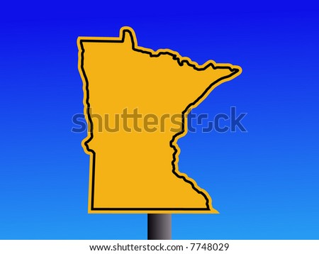 Warning sign in shape of Minnesota on blue illustration