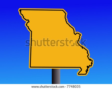 Warning sign in shape of Missouri on blue illustration