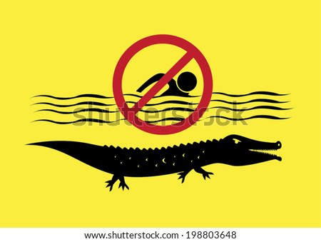 Warning Sign: No Swimming. Crocodile Infested Waters Vector Eps10. - stock vector