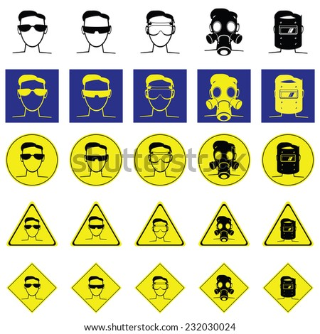Warning sign of head for wearing the eye protection such as sunglasses, lab goggle, gas mask, Welding Helmet - stock vector