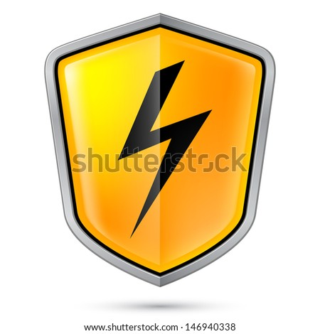Warning sign on shield, indicating of High voltage. Illustration on white - stock vector