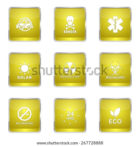 Warning Sign Square Vector Yellow Icon Design Set