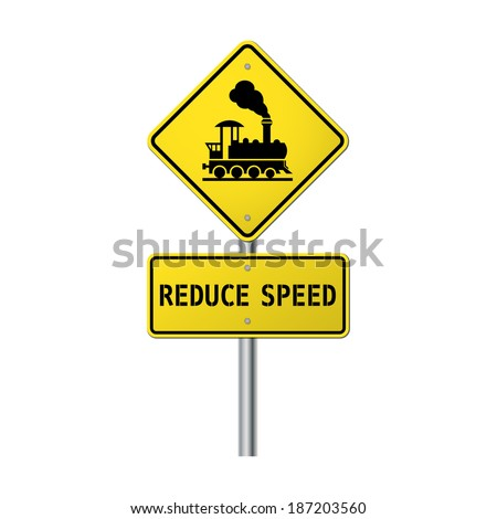 Warning sign traffic railway crossing with gate please reduce speed - stock vector