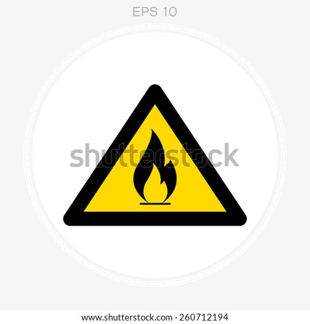 warning sign, vector flame - stock vector
