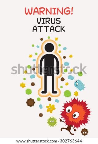 Warning Sign Virus Attack Human, Bacteria, Virus, Microbe, Pathogen Characters - stock vector