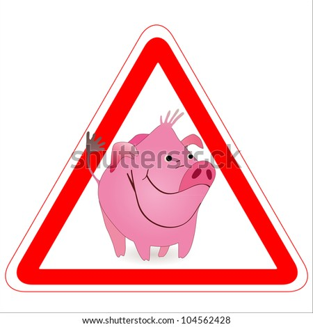 Warning sign with a funny Boar, Pig - stock vector