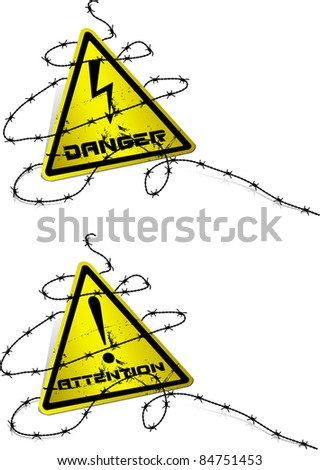 Warning sign with barbed wire. Vector.