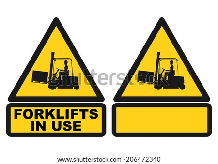 Warning sign with the silhouette of a forklift truck. Vector  - stock vector