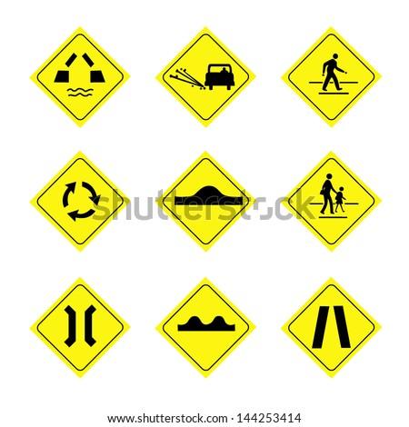 natural disaster warning signs caution danger stock vector