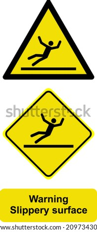 Warning slippery surface  - stock vector