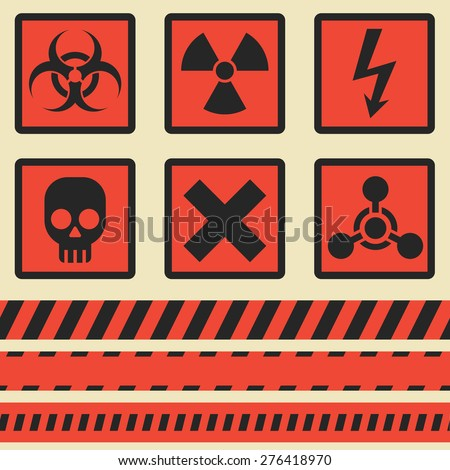 Warning symbols. Set in vector. The seamless tape. Eps10 - stock vector