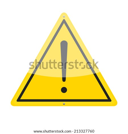 Warning traffic sign isolated on white background