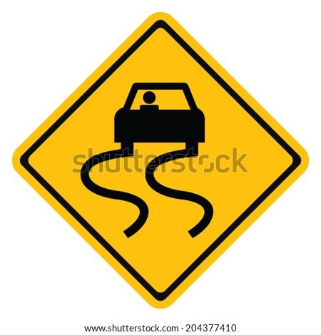 Warning traffic sign Slippery road - stock vector
