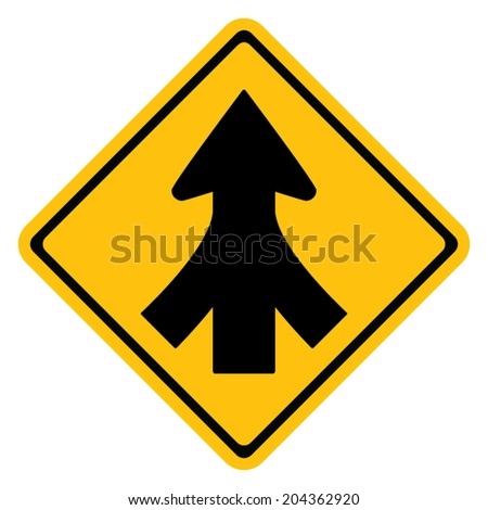 Warning traffic sign, Traffic merges from the left and right - stock vector