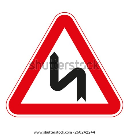 Warning traffic signs. Double bend. - stock vector