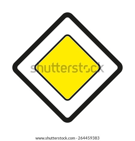 Warning traffic signs. Priority road ahead.