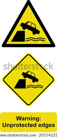 warning unprotected edges - stock vector