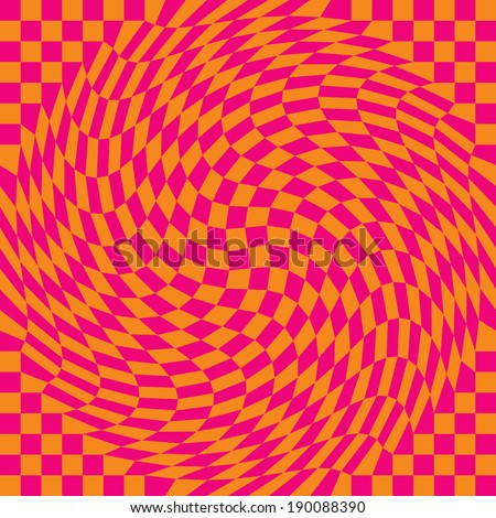 Warped checkerboard pattern in pink and orange repeats seamlessly.  - stock vector