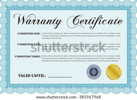 Warranty Certificate. Complex design. Detailed. Printer friendly.