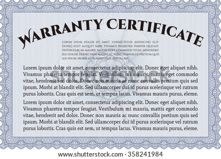 Warranty Certificate. Complex frame. Easy to print. Perfect style.