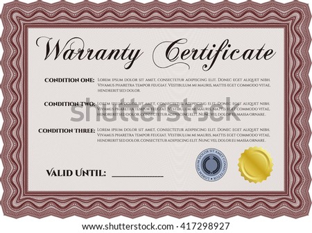 Warranty Certificate. Detailed. Nice design. Easy to print.