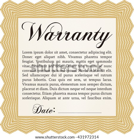 Warranty Certificate. Detailed. Nice design. Easy to print.  - stock vector