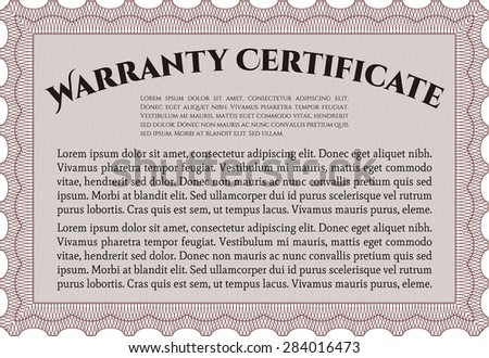 Warranty Certificate template. Complex border. Very Detailed. With sample text.