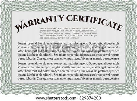 Blue Warranty Certificate Template Stock Vector