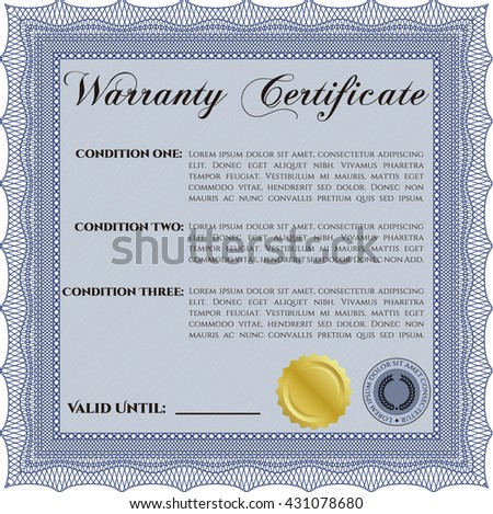 Warranty Certificate template. Cordial design. Easy to print. Detailed.  - stock vector