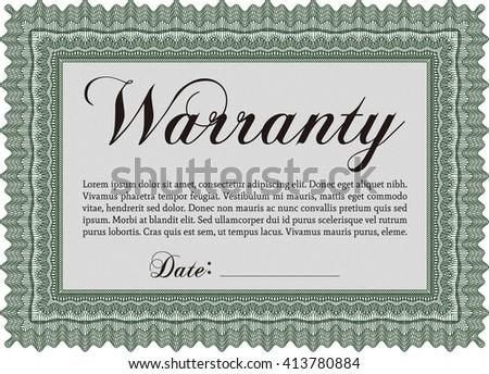 Warranty Certificate template. Detailed. Cordial design. Easy to print.  - stock vector