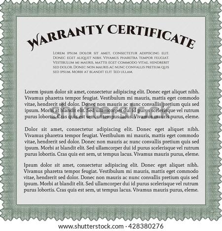 Warranty Certificate Template Detailed Cordial Design Stock Vector