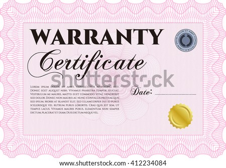 Warranty Certificate template. Easy to print. Detailed. Cordial design.  - stock vector