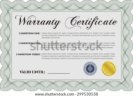 Warranty Certificate template. It includes background. Vector illustration. With sample text.