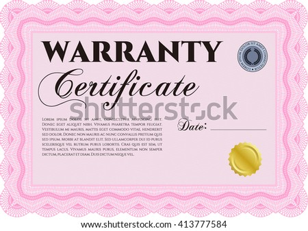 Warranty Certificate template. Nice design. Detailed. Easy to print.  - stock vector