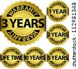 Warranty golden label set, vector illustration - stock photo