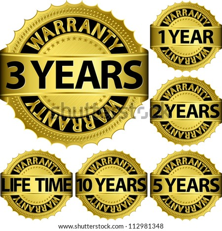 Warranty golden label set, vector illustration - stock vector