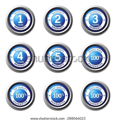 Warranty Guarantee Seal Blue Vector Button Icon Design Set